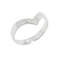 Solid White Gold Diamond-Cut Thumb Ring