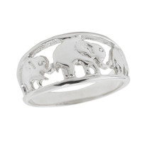 Sterling Silver Openwork Three Elephant Ring