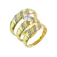 Three-Piece Gold CZ Wedding Ring Set