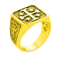 Yellow Gold Crusaders Band Jerusalem Cross Ring for Men