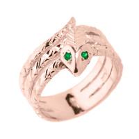 Rose Gold Diamond-Cut Coiled Snake Ring