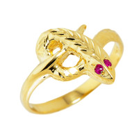 High Polished Yellow Gold Diamond-Cut Snake Ring