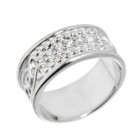 Sterling Silver Celtic Knot Diamond Wedding Band