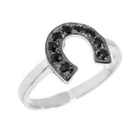 Sterling Silver Black Onyx Horseshoe Ladies Ring