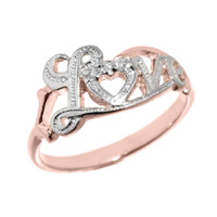 """Love"" Script Rose Gold Diamond Ring"