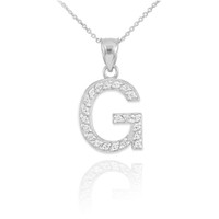 """Sterling Silver Letter """"G"""" CZ Initial Pendant Necklace"""