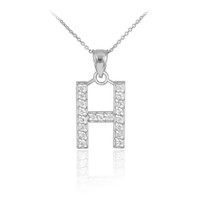 """Sterling Silver Letter """"H"""" CZ Initial Pendant Necklace"""