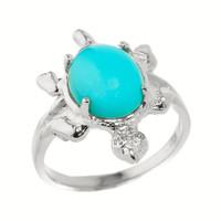 White Gold Ladies Diamond and Turquoise Gemstone Turtle Ring