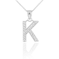 """Sterling Silver Letter """"K"""" CZ Initial Pendant Necklace"""