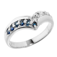 Sterling Silver Blue Sapphire and White Topaz Ladies Chevron Ring