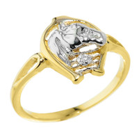 Yellow Gold Horseshoe with Horse Head Diamond Ring
