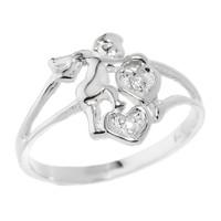 Sterling Silver Angel with Diamond and Hearts Ladies Ring