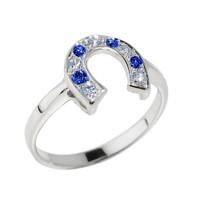White Gold White and Blue CZ Horseshoe Ring