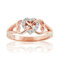 Rose Gold Diamond Infinity Heart Ring