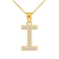 "Gold Letter ""I"" Diamond Initial Pendant Necklace"