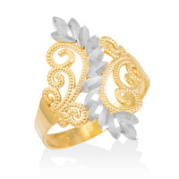 Two-Tone Gold Filigree Diamond Cut Ring
