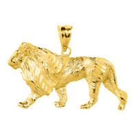 Yellow Gold Diamond Cut Lion Pendant