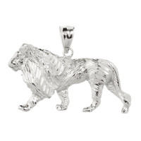Sterling Silver Diamond Cut Lion Pendant