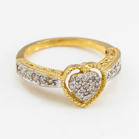 Yellow Gold Diamond-Studded Heart Ring