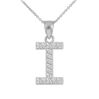 "White Gold Letter ""I"" Diamond Initial Pendant Necklace"