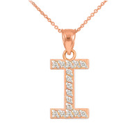 "Rose Gold Letter ""I"" Diamond Initial Pendant Necklace"