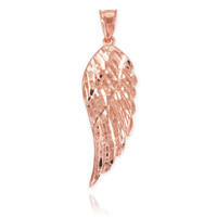 Rose Gold Diamond Cut Wing Pendant