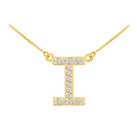 "14k Gold ""I"" Diamond Initial Necklace"