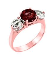Rose Gold Three Stone Garnet and White Topaz Gemstone Engagement Ring