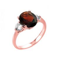 Rose Gold Garnet and White Topaz Ring