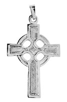 White Gold Celtic Pendant Cross