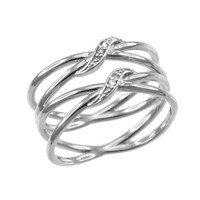 White Gold Dainty Double Infinity Orbit Ring with Diamonds