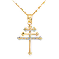Gold Diamond Maronite Aramaic Cross Necklace