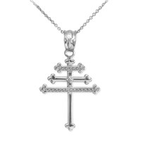 Sterling Silver CZ Maronite Aramaic Cross Pendant Necklace