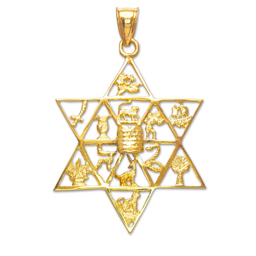 Gold star of david with twelve tribes of israel pendant for Star of david jewelry wholesale