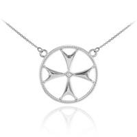 14k White Gold Diamond Maltese Cross Necklace