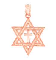 Jewish Charms and Pendants - Rose Gold Star Cross of David