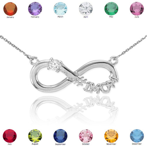 14k white gold infinity 1mom cz birthstone necklace mom. Black Bedroom Furniture Sets. Home Design Ideas
