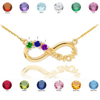 14K Gold Infinity #1MOM Necklace with Three CZ Birthstones