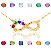 14K Gold Infinity #1MOM Necklace with Five CZ Birthstones