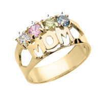 """Yellow Gold """"MOM"""" Ring with Four CZ Birthstones"""