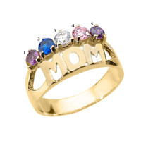 """Yellow Gold """"MOM"""" Ring with Five CZ Birthstones"""