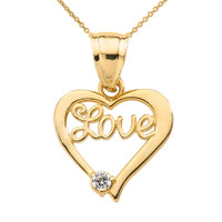 "Yellow Gold ""Love"" Script Diamond Heart Pendant Necklace"