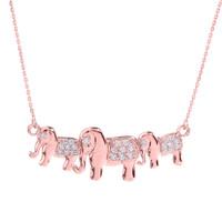 Rose Gold CZ Studded Three Elephant Pendant Necklace