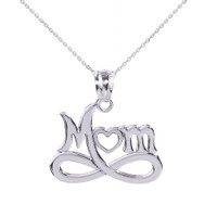 "White Gold Infinity ""MOM"" Open Heart Pendant Necklace"