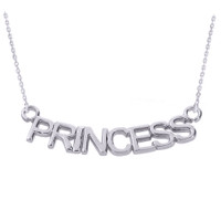 "14K White Gold  ""PRINCESS"" Pendant Necklace"