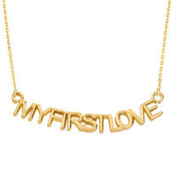 "14K Yellow Gold  ""MYFIRSTLOVE"" Pendant Necklace"