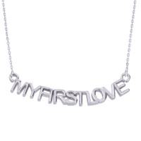 "14K White Gold  ""MYFIRSTLOVE"" Pendant Necklace"