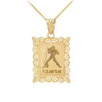 Polished Gold Aquarius Zodiac Sign Rectangular Pendant Necklace