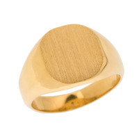 Solid Yellow Gold Engravable Men's Signet Ring