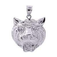 Sterling Silver Diamond Cut Tiger Head Charm Pendant